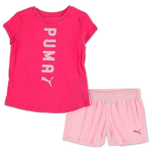9913a34a Girls Active 2 Pc Logo Shorts Set - Pink (4-6X)