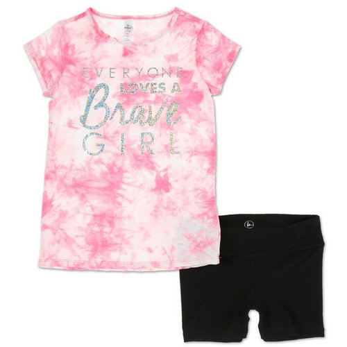 5c5fd792 Girls Active 2 Pc Brave Girl Shorts Set - Pink/Black (7-16