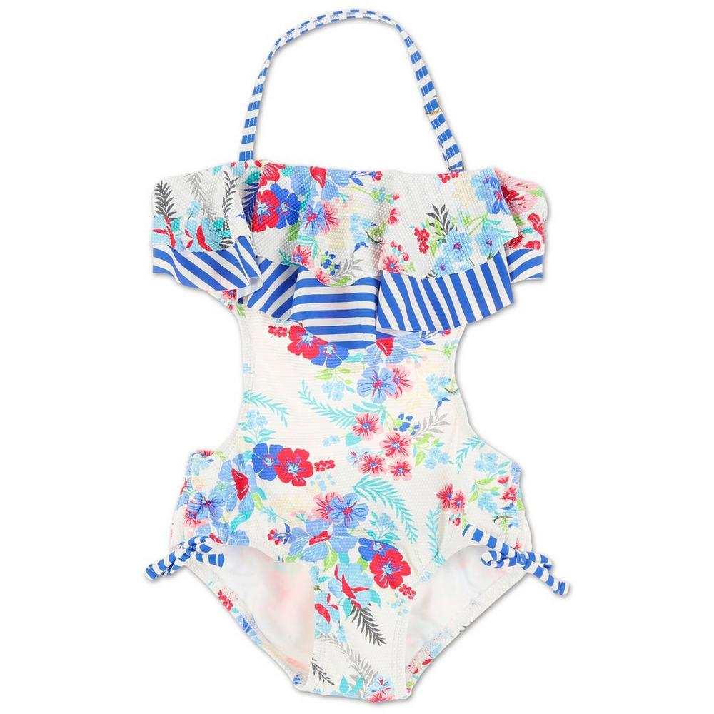 7f7970412d Girls Floral & Ruffle One Piece Swimsuit - Multi (4-6X) | Burkes Outlet