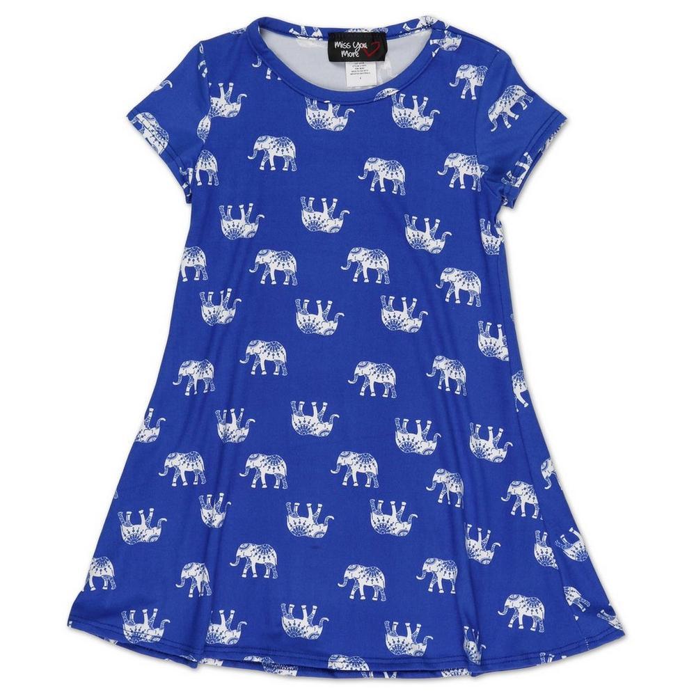e07fb17f7c2 Girls Mandala Elephant Print Dress - Blue (4-6X)   Burkes Outlet