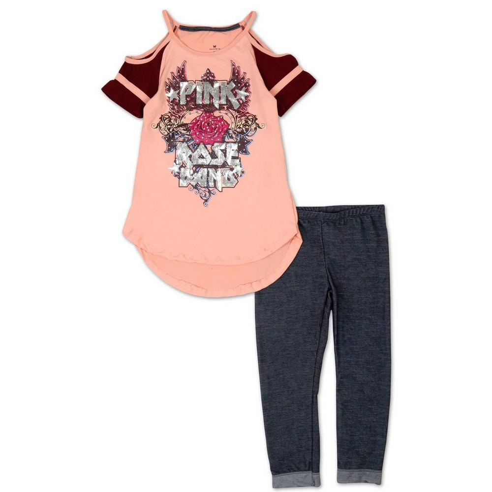e544e9355b750 Girls  2 Pc Pink Rose Band Legging Set - Pink (4-6X)