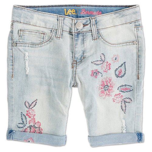 41df7291 Girls Floral Embroidered Denim Bermuda Shorts - Light (7-16)