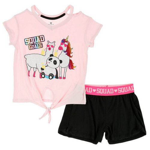 7fab9976b Girls 2 Pc Squad Goals Shorts Set - Pink (7-16)