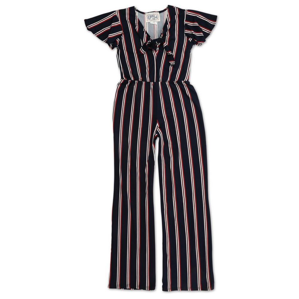 3b5c6914daf Girls Striped Ruffle Sleeve Jumpsuit - Navy (7-16)
