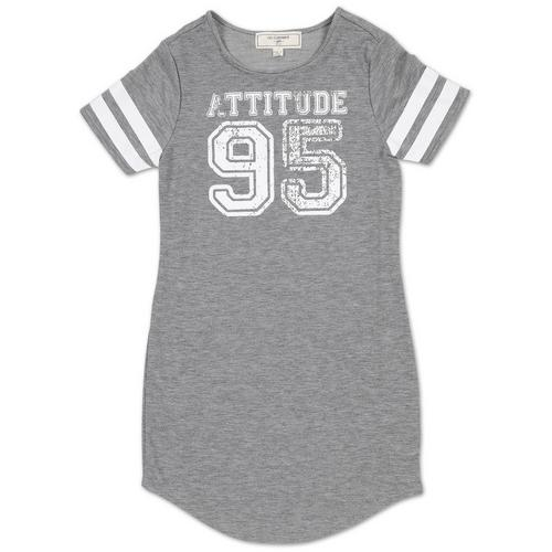 Girls' Attitude Varsity Dress - Grey (7-16)