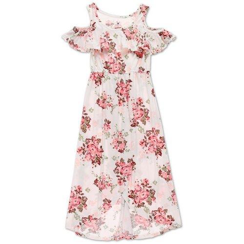 ba512d9d567e Girls Floral Cold Shoulder Dress - White Multi (7-16)