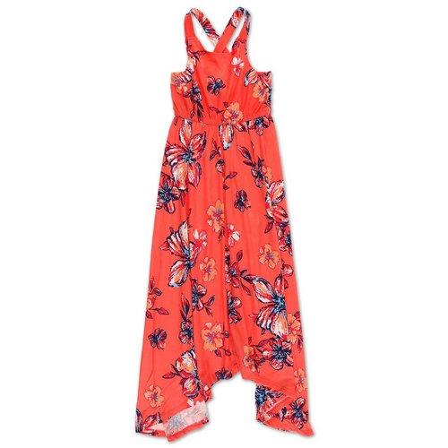 3aebab30e Girls Tropical Floral Sharkbite Hem Dress - Coral