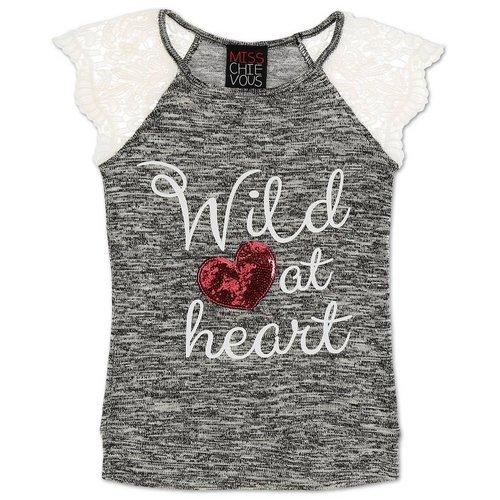 fb784a60199b4d Girls Wild At Heart Crochet Sleeve Top - Grey (7-16)
