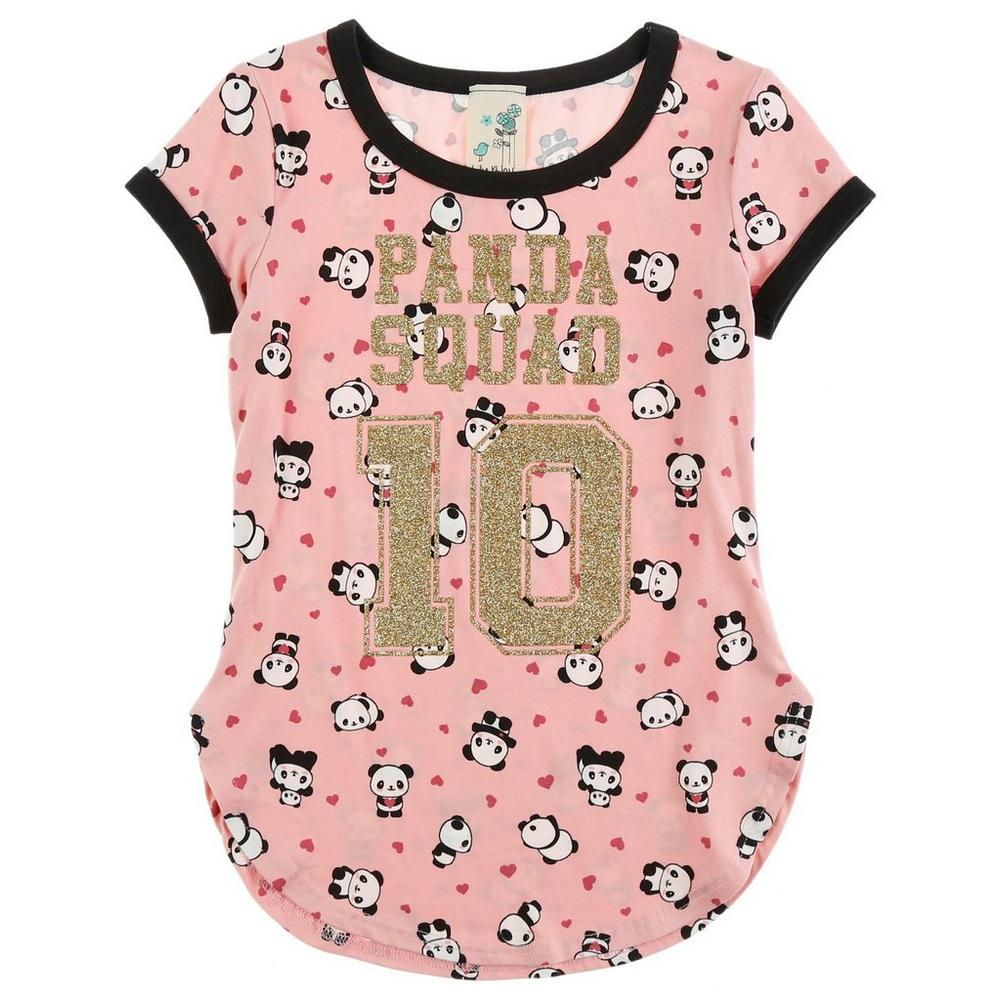 Girls Panda Squad Ringer Tee - Pink (7-16)