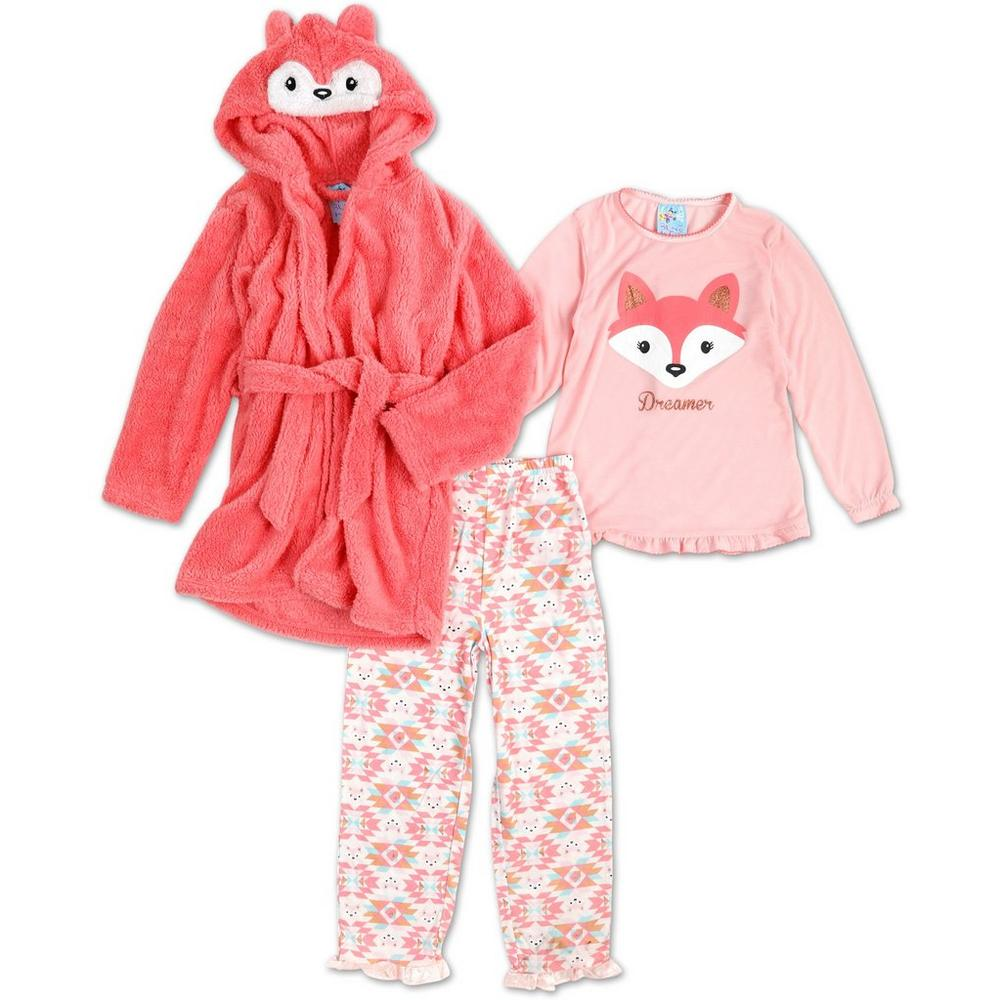 3c4d4dc18 Girl s Fox Dreamer 3 Pc Pajama Set - Pink (7-16)