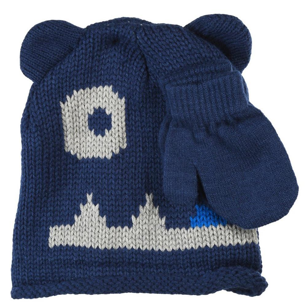 9f98fa399246d Monster Knit Hat   Mittens Set - Blue