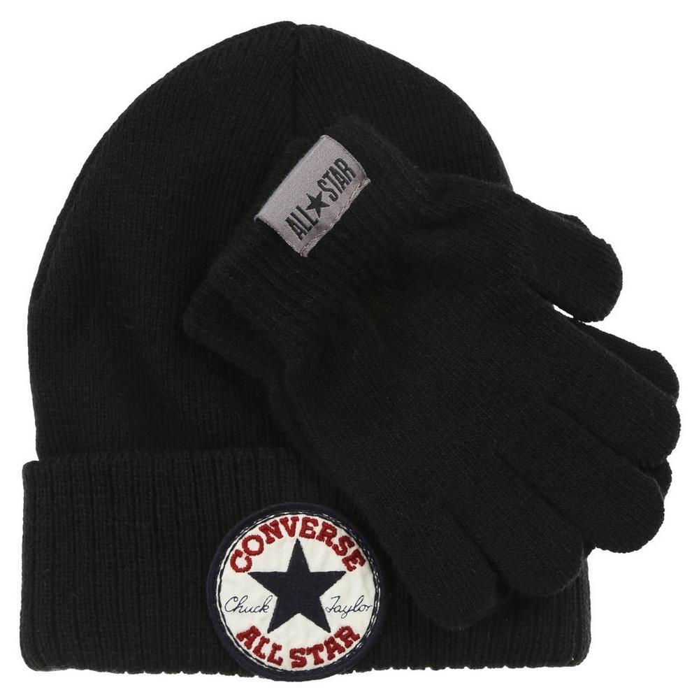613bd5729 All Star 2 Pc Knit Beanie & Gloves Set - Black