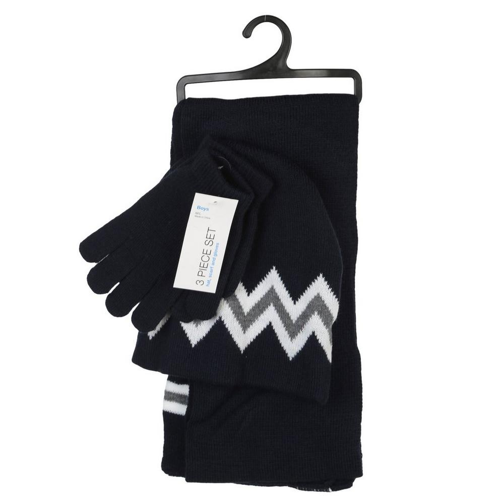 74b55956d19 Boys Chevron Stripe 3 Pc Hat Glove   Scarf Set - Navy