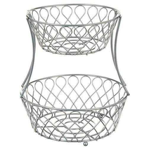 2 Tier Decorative Wire Basket Chrome