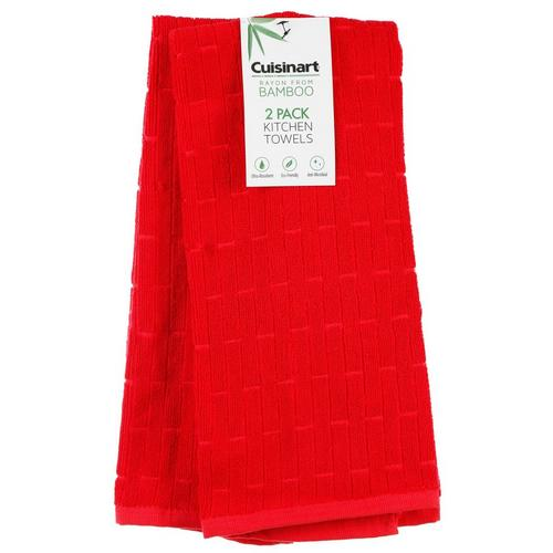 2 Pk Bamboo Kitchen Towels - Red