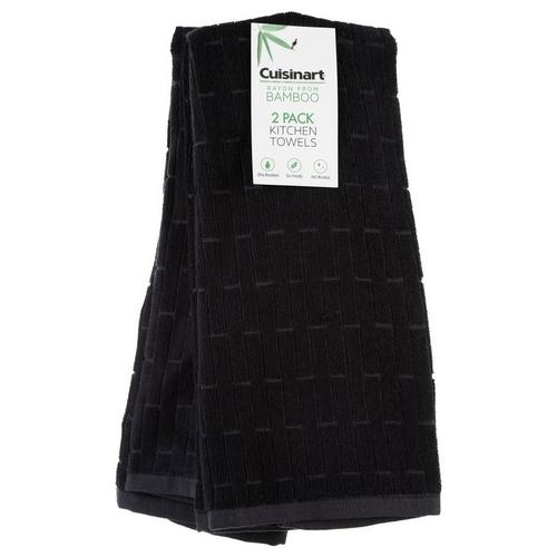 2 Pk Bamboo Kitchen Towels - Black