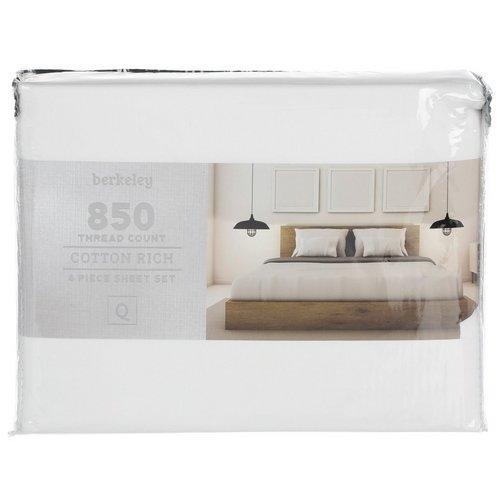 Queen 850 Thread Count 4 Pc Sheet Set White