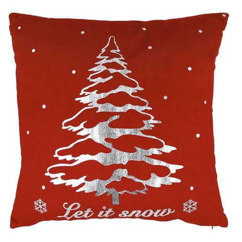20 Inch Velvet Let It Snow Decorative Pillow