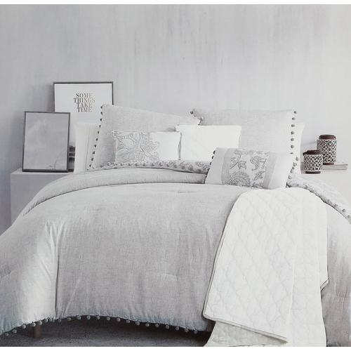 King Size Ranna 7 Pc Comforter Set Blue Grey