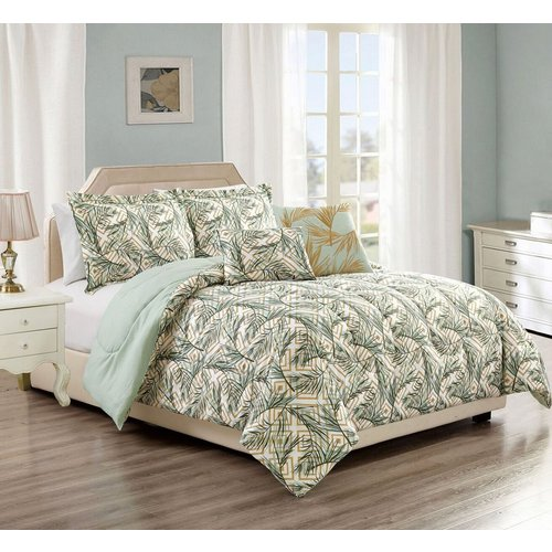 Queen Greek Key Palm 5 Pc Comforter Set Green Mutli