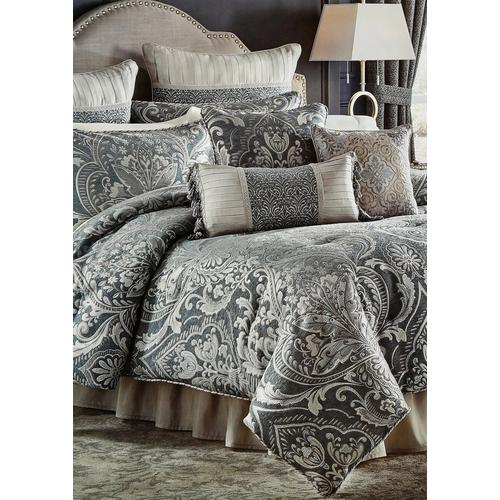 Queen Vincent 4 Pc Comforter Set, Slate Blue And Gray Bedding