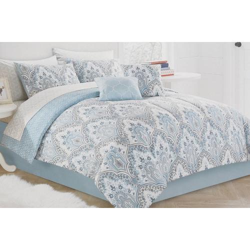 Queen 10 Pc Roma Paisley Comforter Set   Blue Multi | Burkes Outlet