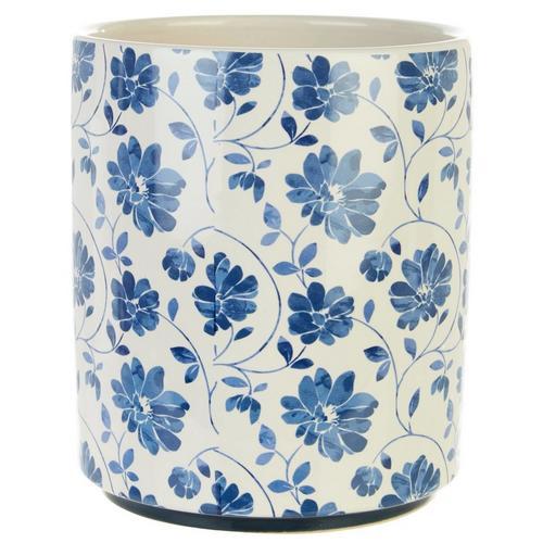 Floral Utensil Holder Blue Burkes Outlet