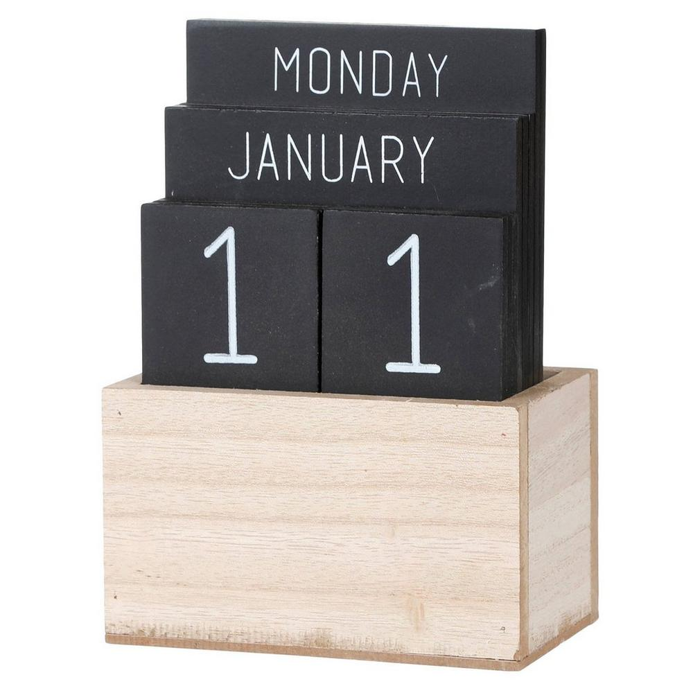 Perpetual Wood Block Calendar Burkes Outlet