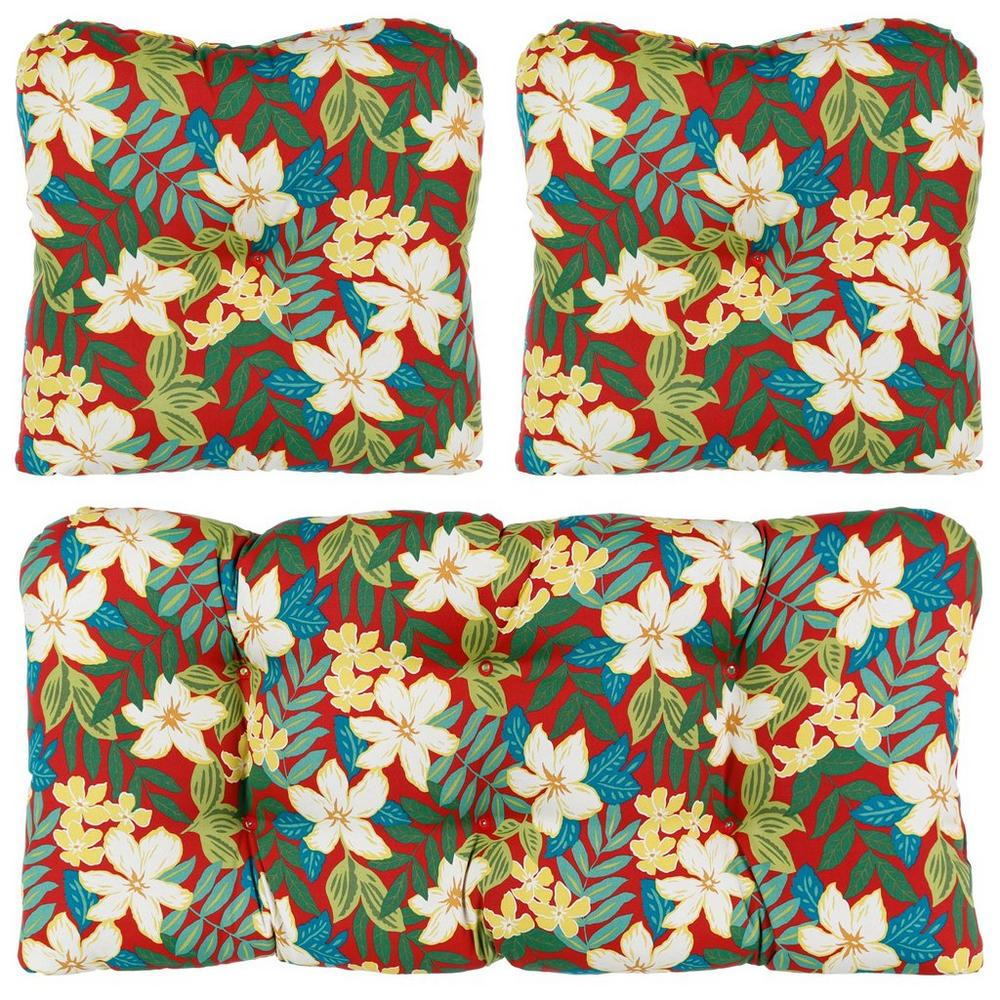 Kona 3 Pc Patio Cushion Set Red Burkes Outlet