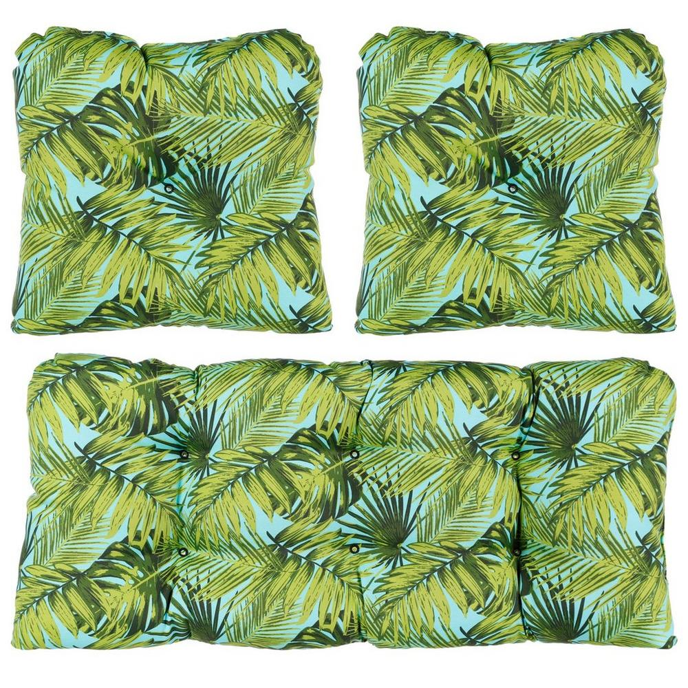 Aruba 3 Pc Patio Cushion Set Aqua Green Burkes Outlet