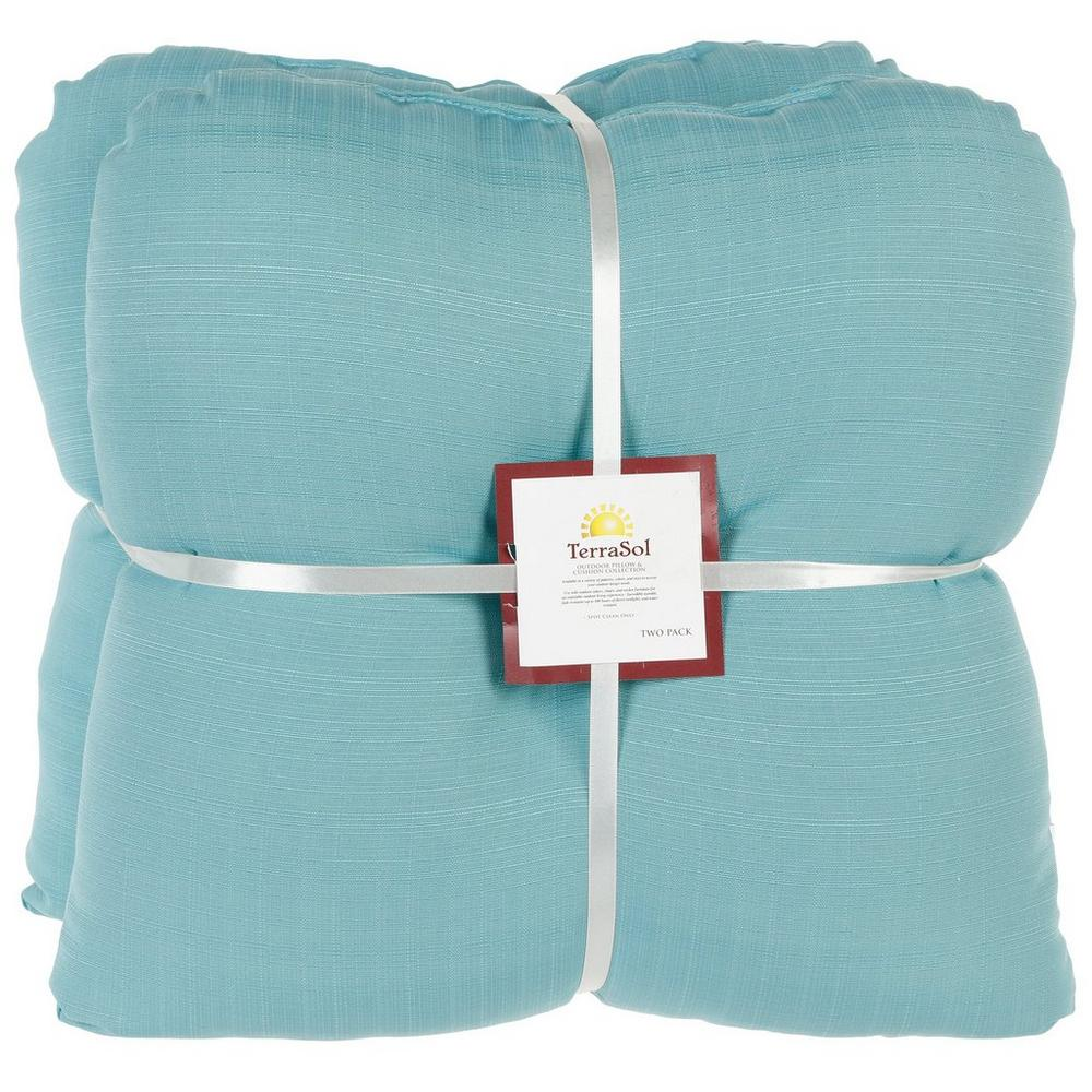 Solid Outdoor Chair Cushion 2 Pk Aqua Burkes Outlet