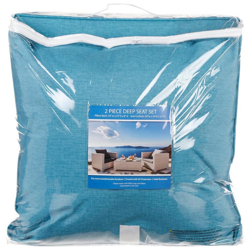 Deep Seat 2 Pc Patio Chair Cushion Set Blue