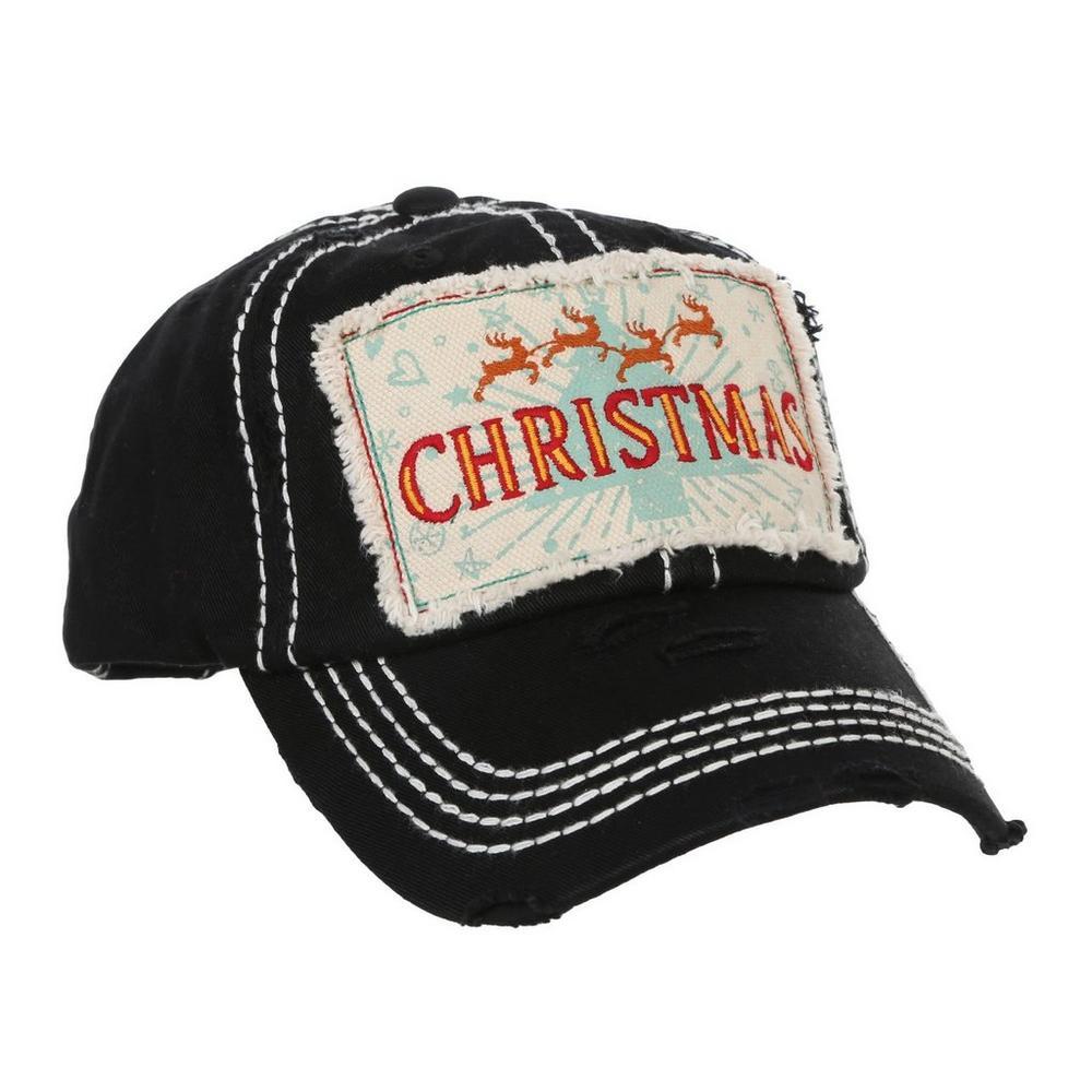 36cc33d667eedc Christmas Patch Distressed Cap - Black | Burkes Outlet