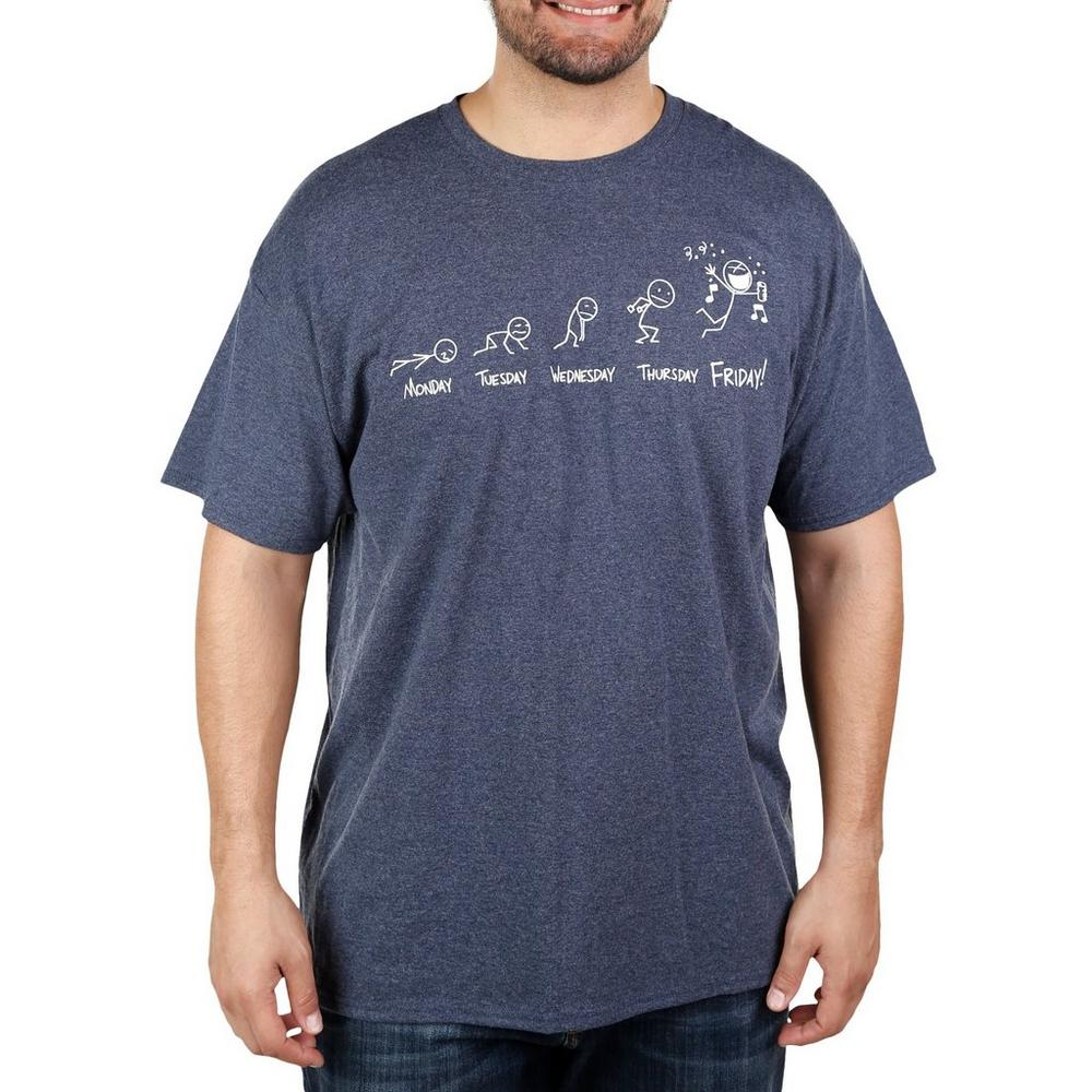 c6bf950b Men's Big & Tall Days Of The Week Graphic Tee - Blue | Burkes Outlet