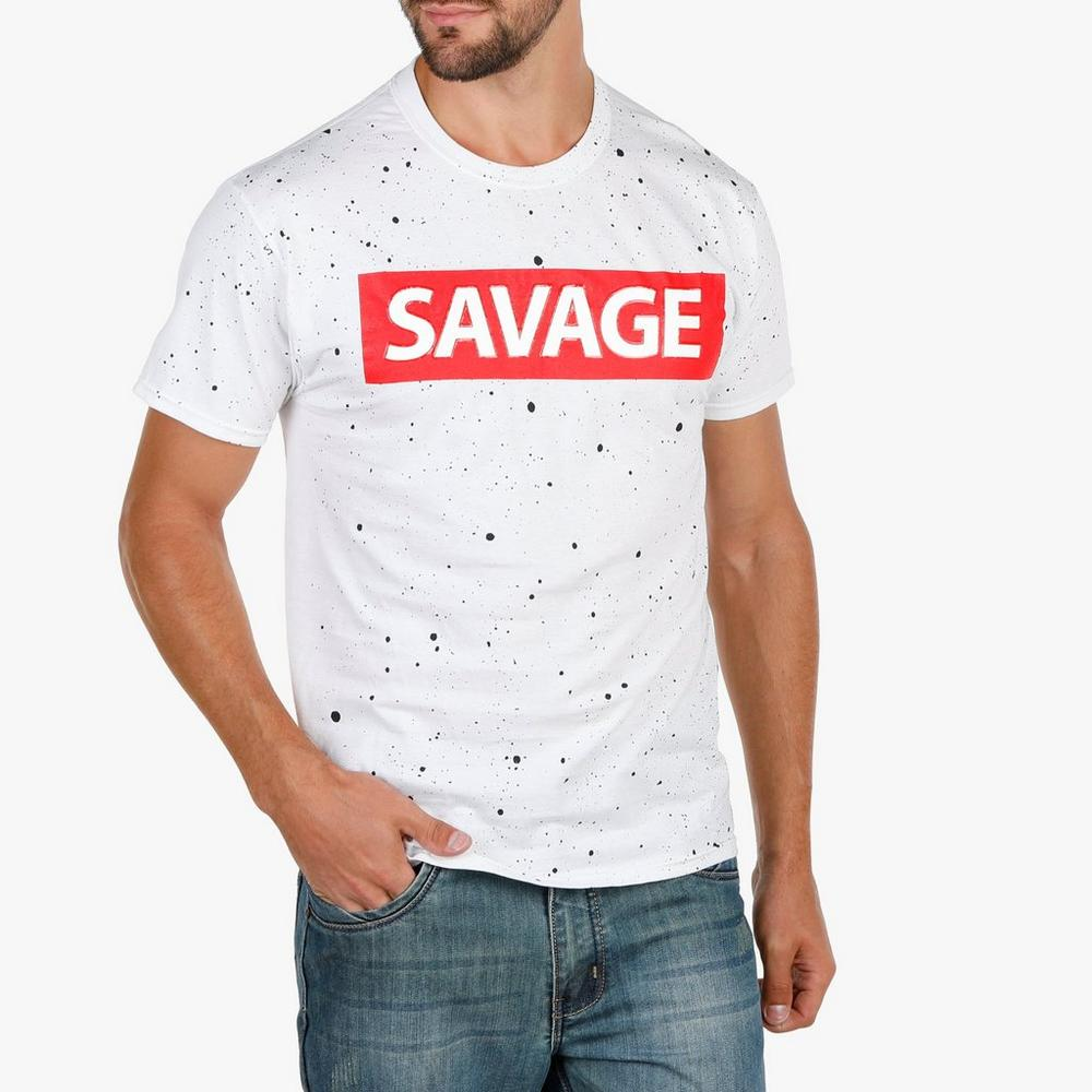 cd3a7209353b Men's Savage Splatter Graphic Tee - White   Burkes Outlet