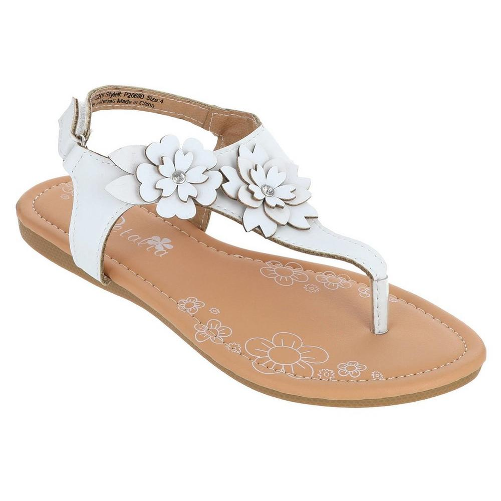 03f4edc07973 Girls  Floral Thong Sandals - White