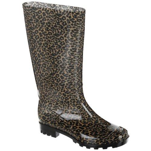 750870762 Leopard Tall Rain Boots - Tan