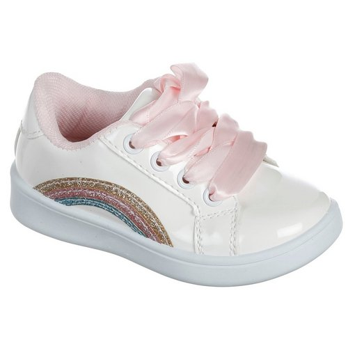 92cbb54df Girls Rainbow & Satin Lace-Up Sneakers - White Multi