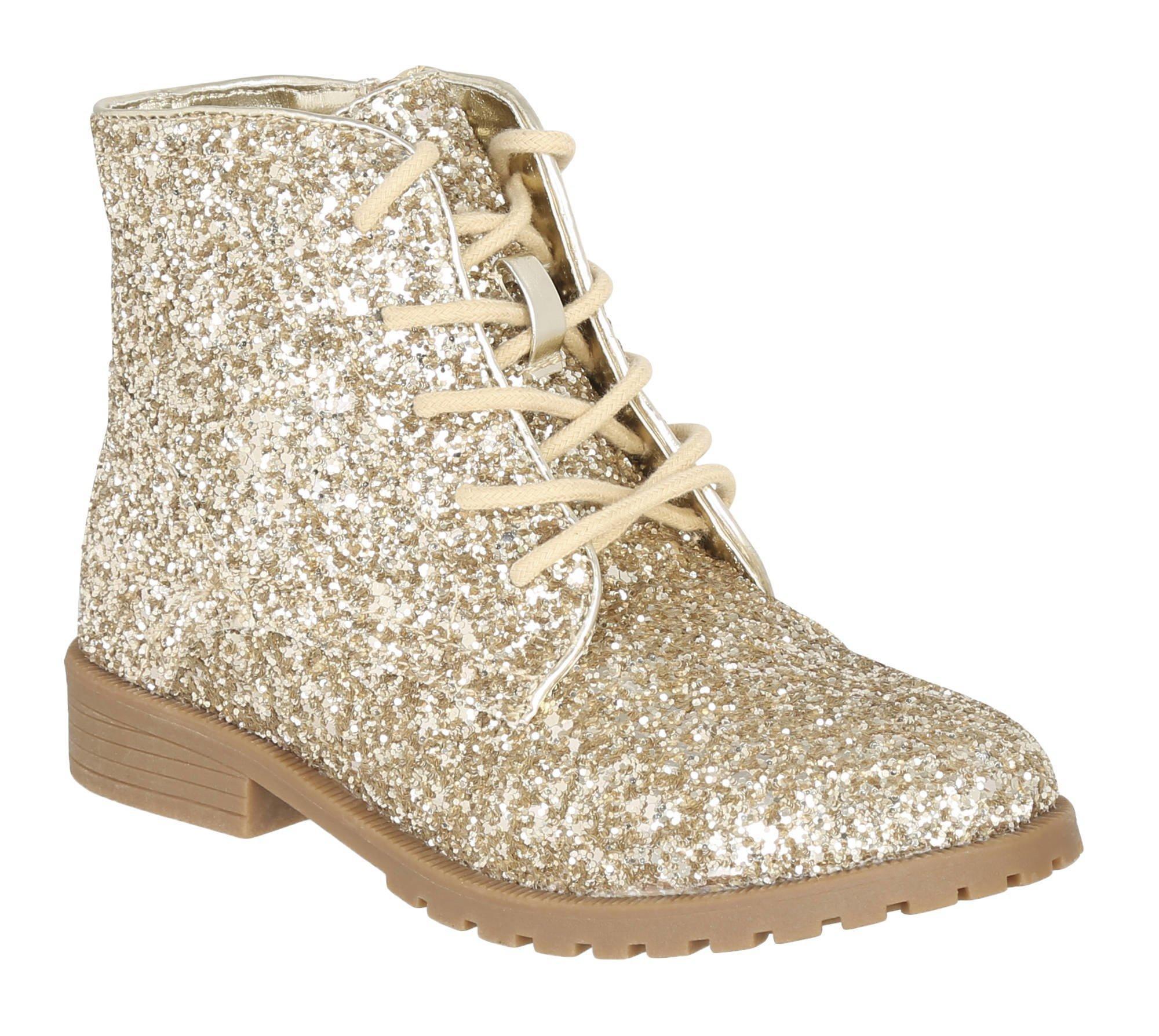 Kett Spot On H2R253 Girls Gold Glitter Textile Slip On Shoes R32A