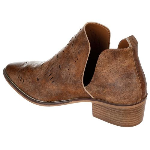 Cada Perforated Side Cut Out Ankle Booties - Brown