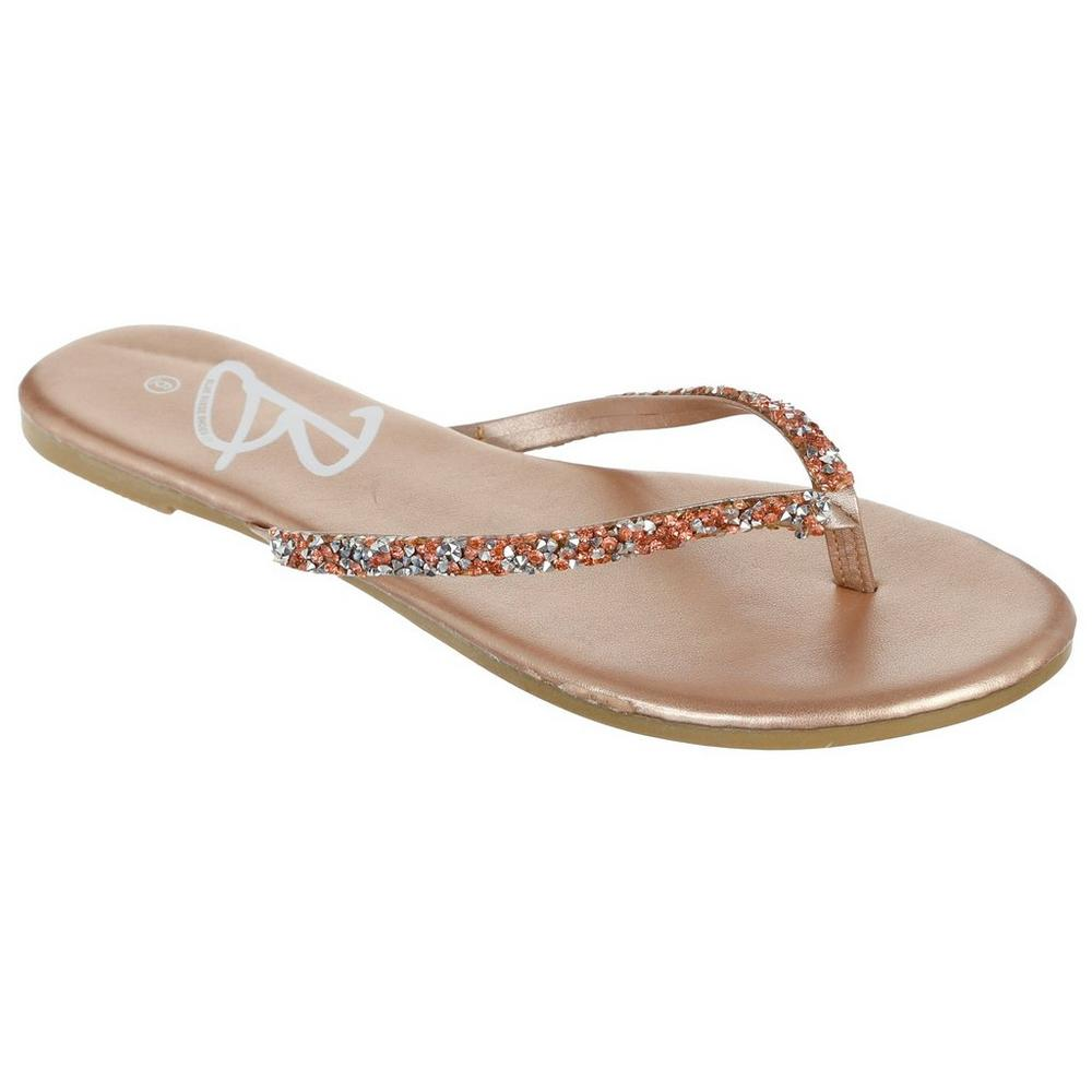 7106eff8969c7b ... Jeweled Flip-Flops - Rose Gold. Click to zoom