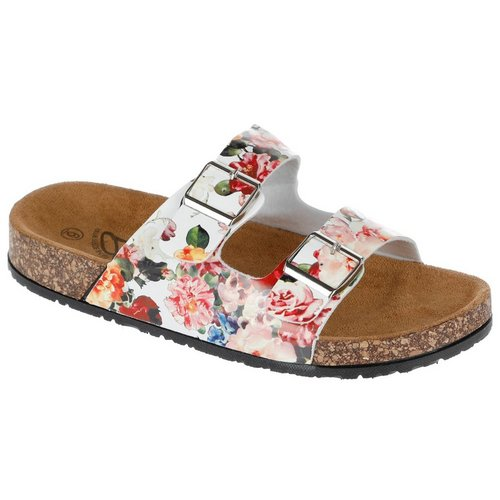 1c224c16f3 Floral Double Band Footbed Sandals - White Multi