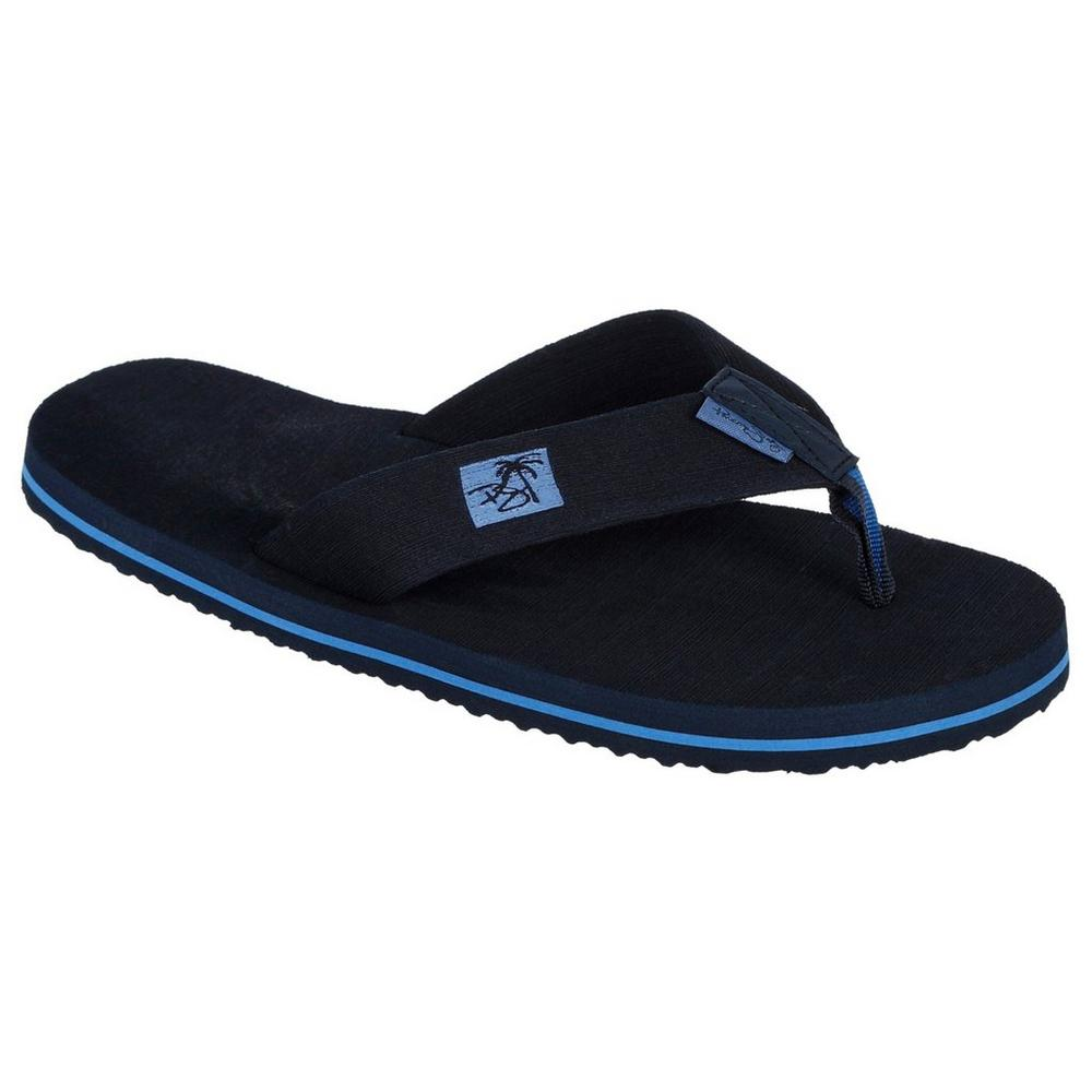 Men S Cushioned Flip Flops Black Blue