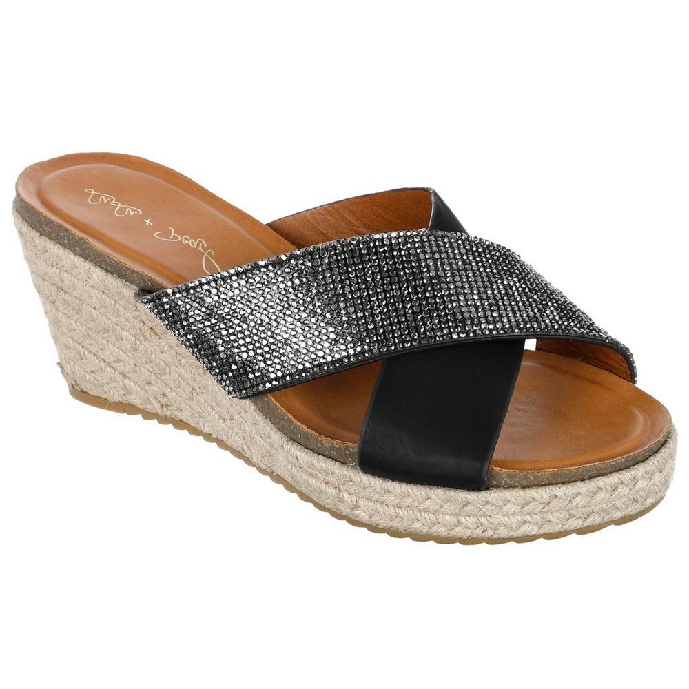 d8342e0a674 Jeweled X-Strap Wedges - Black | Burkes Outlet