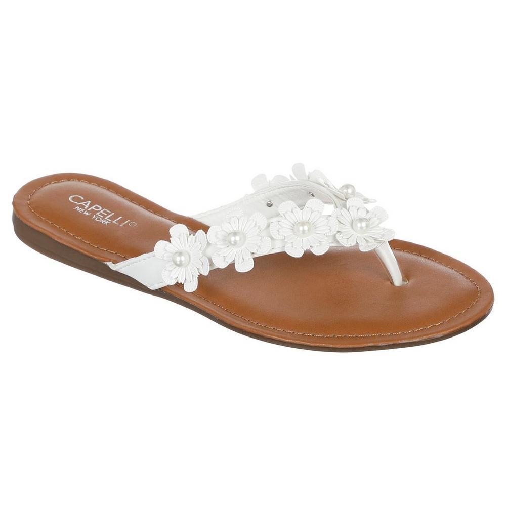 8737f7813f59 Flower   Pearl Flatbed Flip-Flops - White
