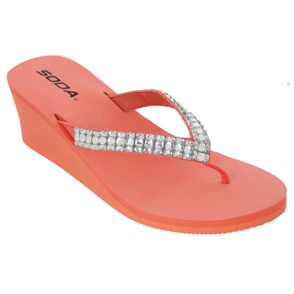 aeef6d9d59d7 Bling Foam Wedge Flip Flops - Pink