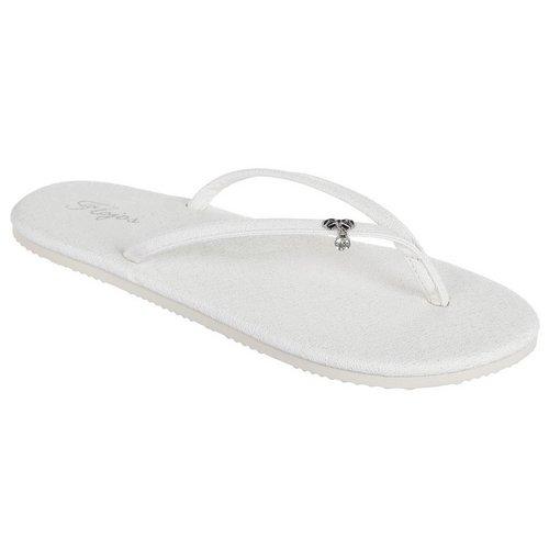 6896b23cd1074 Ginger Shimmer Flip Flops - White
