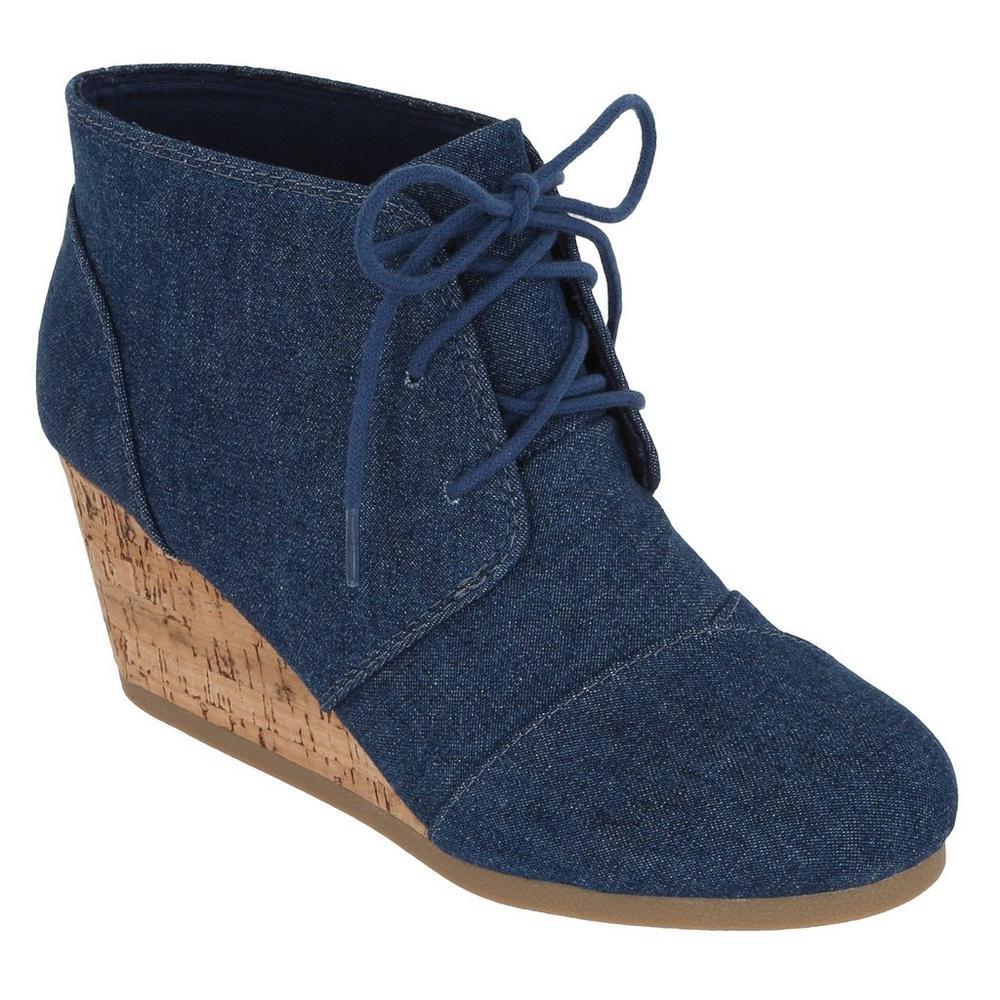 306905d7bbc Denim Cork Wedge Boots - Blue Jean