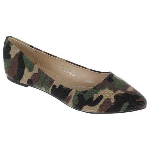 5c503bf8cad Angie Camo Pointed Flats - Green Multi