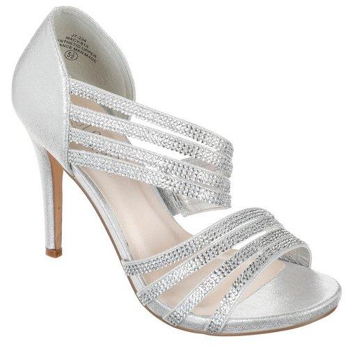 5beb8feaf637 Macy Jeweled Open Toe Heels - Silver